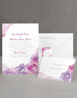 Soft, watercolor roses show your colorful side and your artistic style. The purple watercolor rose design accents the top and bottom of the bright white wedding invitation card, making it a lovely introduction to your floral-themed wedding anytime of year. Choose two lettering styles and two imprint colors for your wording. Invitation includes inner and outer envelopes.