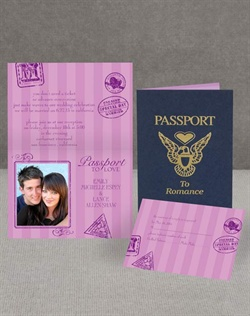 Every guest will need a passport to your romantic wedding, and this wedding invitation is perfect! The invitation resembles an actual passport on the wrap, but inside your photo and wording are revealed amid purple designs. Choose any imprint color and up to two lettering styles for your wording. Glue dots included; assembly required.