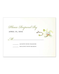 Stunning watercolor orchids adorn elegant, formal fonts in this design. A touch of green and orange tones warm up the white, creating a signature look for a classic wedding.