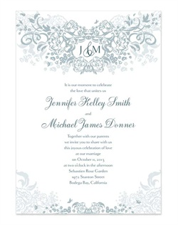 This artistic, monogrammed invitation exudes romance with a bountiful floral pattern and distinguished fonts. Choose from 5 classic colors and personalize with your monogram.