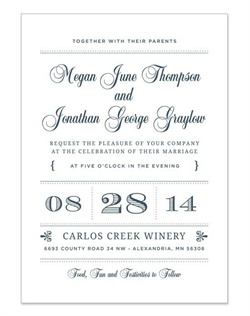 The vintage typography used in this modern design creates a fresh, exciting look that will make your special day unforgettable. Available in 3 color options, you'll love the vintage details and sophisticated layout.