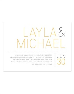 Make a fresh statement for your wedding day with the clean, modern typography featured in this playful design. Five on-trend color choices will delight along with the colloquial response card, a dash of chevron, and personalized save the dates.