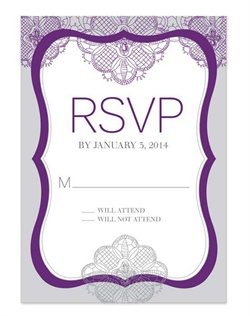 Distinguish your special day with a romantic design in a regal shade of purple. With its delicate lace pattern and graceful typography, this design blends a bit of vintage, romance and fresh originality that will captivate them.