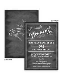 "Invite all your friends and family to help you celebrate your wedding with this chalkboard - floral designed invite.  Your invite wording is printed on the front with ""Wedding Celebration"" imprinted inside a beautiful floral design on the back of your invites. 5 1/2"" x 7 3/4"""