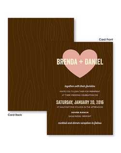 "Here's an invitation that comes straight from the heart.  This double sided wedding invitation features your names across a large heart with your invitation wording printed below in your choice of colors and typestyles.  5 1/2"" x 7 3/4"""