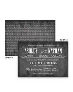 "This double sided modern yet vintage wedding invitation will set the tone for your special day. Your invite wording is printed on the front with your names accenting the back of the card.  7 3/4"" x 5 1/2"""