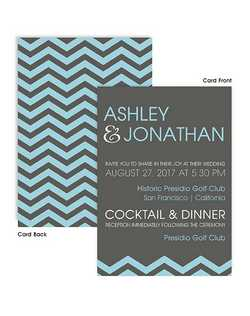 "Make a bold statement with this chevron pattern on the back your invite and your invitation wording printed on the front of the card in a fun and casual format.  5 1/2"" x 7 3/4"""