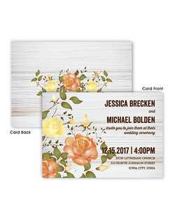 "Roses, the symbol of love, blossom on the front left side and centered on the back of these double sided Arianna wedding invitations.  7 3/4"" x 5 1/2"""