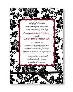 "A border of floral patterns surrounds your words of invitation on this white vellum card.  Available in numerous colors to match your wedding.  5 1/2"" x 7 3/4"""