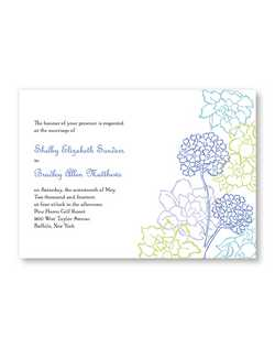 "Exquisitely drawn flowers add just a touch of color to a crisp invitation. The bride and groom's names are accented with that same touch of color.  7 3/4"" x 5 1/2"""
