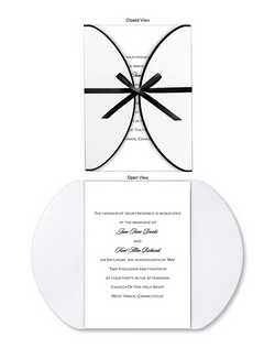 "Your words of invitation are printed on a single panel card, which is then enfolded by a White wrap with curved edges trimmed in Black foil. Tie it closed with one of our ribbons, or add a ribbon or seal of your own choosing. 5 1/2"" x 7 3/4"""