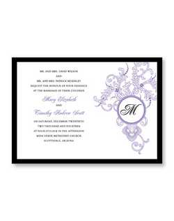 "A lovely design featuring a medallion with your last name initial graces the right side of this invitation. 7 3/4"" x 5 1/2"""