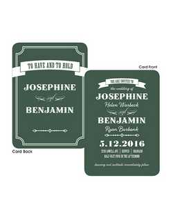 "This double sided, rounded corner and modern style wedding invitation is the perfect design to let all your friends and family know of your upcoming nuptials. 5 1/2"" x 7 3/4"""