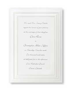 "A double-beveled frame lined with pearl surrounds your words of invitation on this simple and cute invitation. 5 1/2"" x 7 3/4"""