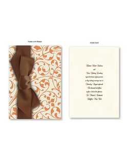 "Your words of invitation are printed on single panel White or Ecru card and then wrapped in an exquisite folder bedecked with vines and leaves. The double-faced satin ribbon adds an additional accent for a truly unique look.  5 1/2"" x 7 3/4"""