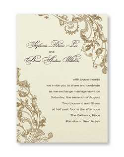 "This appealing invitation starts with pearlized heavyweight single panel card in your choice of colors. A beautiful flourish design frames your first names and invitation wording. We recommend darker ink colors for this invitation. 5 12"" x 7 3/4"""
