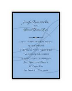 "The groom's last name initial forms the backdrop for your words of invitation on a colorful single panel card. A backer adds a layer of sophistication, while a single crystal embellishment adds a touch of glamour to these stylish wedding invitations.  5 1/2"" x 7 3/4"""