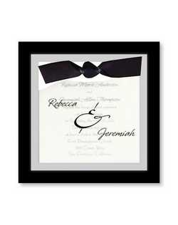 "This classy wedding invitation features your names in the typestyle shown on a sheer vellum overlay embellished with a ribbon.  7""x7"""