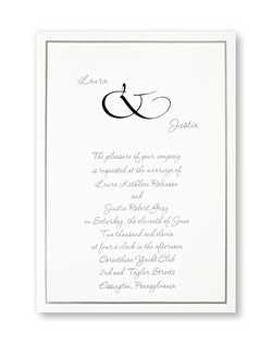 "Your names are offset by a stylish ampersand on this invitation of simple beauty. A single band of platinum borders your invitation wording.  5 1/2"""" x 7 3/4"""""