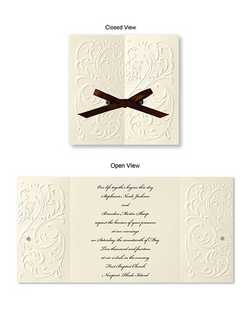 "A romantic heart surrounded by filigree is richly blind embossed on this invitation. Untie the satin bow and open the card to reveal your words of invitation.  5 1/2"" x 5 1/2"""