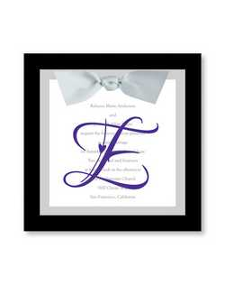 "The groom's last name initial takes center stage on a translucent overlay, while your invitation wording is printed on a square card. Its then placed against a backer and tied together with a satin ribbon. This invitation makes an elegant statement. Plain accessory cards complement the invitations.  7"" x 7"""