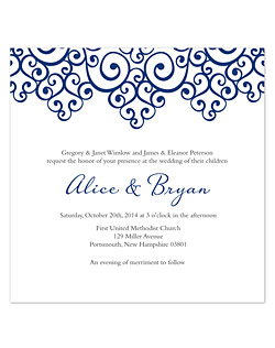 This square-shaped invitation design features a lacy, scrolling illustration along the edge on a bright white background. Casual-style fonts and the open space give this design a distinctively modern look.