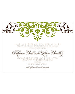 A baroque-inspired, decorative damask pattern makes a statement in this unique design. Detailed flourishes in a one-of-a-kind font style highlight the romance of your special day.