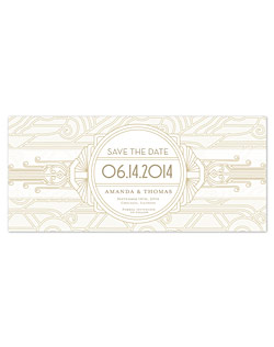 Deco-style details make a statement in this cream and gold design. Architecturally-inspired pattern stretches across the paper, enhancing the sleek styling of art-deco fonts. This is a perfect choice to create a look of vintage glamour.