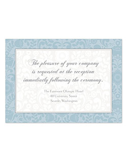A victorian-inspired floral pattern provides both backdrop and border for the details of your wedding day. A sweetly simple font bring a bit of contemporary styling perfect for your wedding day look.