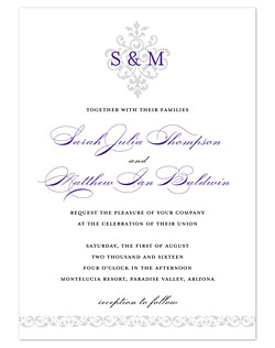 A simply gorgeously styled, royal-inspired emblem provides an elegant backdrop for your marriage monogram, which is the focal point in this regal style design.