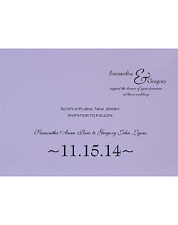 This layered wedding invitation suite features many different color options for the top and bottom layer, allowing you to coordinate your wedding stationery with the wedding colors.