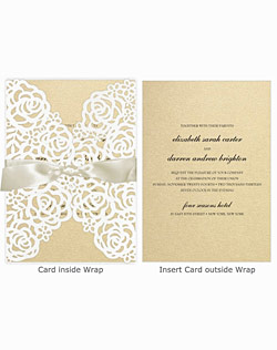 This gorgeous wedding invitation features a floral laser cut wrap and beautiful satin ribbon, with many color options for the insert card and coordinating components.