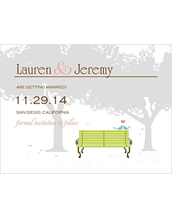 This heartfelt wedding stationery suite features a park bench with love birds, complemented by a gorgeous tree background.