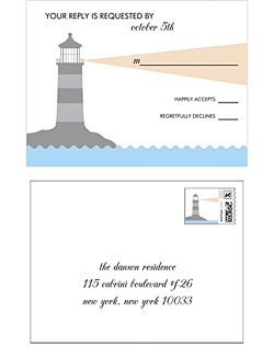 This gorgeous wedding invitation suite features a fun lighthouse design with the ray of light framing clean typography for a fabulous aesthetic.