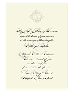 This beauty strikes perfect form for pure elegance on your wedding day. The formality of this black-on-cream design begins with an understated monogram emblem atop a traditional layout of text, done in a crisp, classical calligraphy font style.