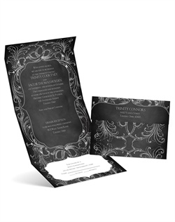 A flourish frame appears sketched around your wording on this chalkboard seal and send wedding invitation.Seal and send invitations include a perforated card at the bottom printed with your response wording on one side and your address on the other. Your return address is printed on the outer flap.