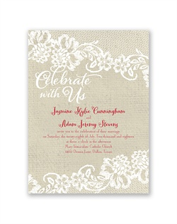 "Lace trim on a burlap background gives this rustic wedding invitation a romantic feel. ""Celebrate with Us"" and the lace trim are printed in white around your wording, which is printed in your choice of colors and fonts."