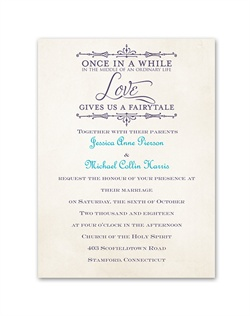 Let friends and family know you've met your Prince Charming and soon you will both be saying yes to happily ever after. This fairy-tale wedding invitation features a heartwarming quotation above your wording. The quotation is printed as shown in your choice of color. Your wording is printed in your choice of colors and fonts.