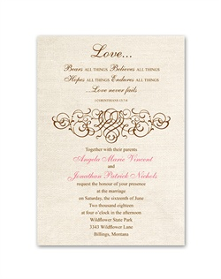 "The popular Corinthians verse, ""Love bears all things..."" is printed against a burlap background above an intricate filigree accent. Design and wording are printed in your choice of colors and fonts."