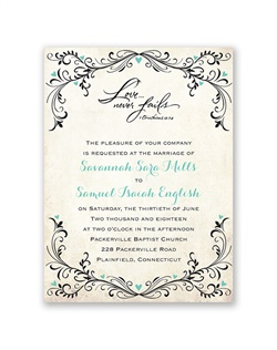 A beautiful symbol of how your love will blossom on the wedding day and long after, this cheerful wedding invitation features a flourish and heart frame around your wording. The flourishes, hearts and design are printed in your choice of color. Your wording is printed in your choice of colors and fonts.