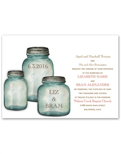 Classic country canning jars contain your names and wedding date on these rustic wedding invitations. Your wording is printed in your choice of imprint colors and typestyles.