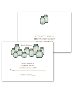Classic country canning jars don these rustic respond postcards. Respond postcards are an attractive yet economical choice for completing your wedding stationery ensemble. Postcards are easy to send, and the lower postage rate saves you money on stamps.