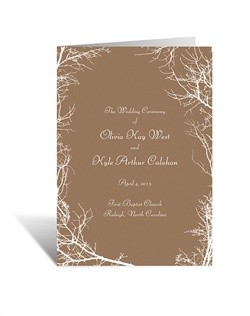 An intriguing combination of rustic style and natural charm, these rustic wedding programs feature a frame of ordinary branches artistically illustrated around your wording.