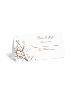 An intriguing combination of rustic style and natural charm, these rustic place cards feature accents of ordinary branches artistically illustrated above and below your wording. Design and wording are printed in your choice of colors and fonts.