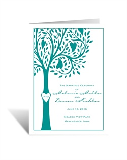 Whimsical and refreshing, show your love for each other and for the world around you with these inspiring, heart wedding programs. Design and wording will be printed in your choice of color and fonts.