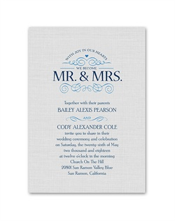 "Share your joyful hearts with friends and family! This simply charming wedding invitation features ""With Joy in Our Hearts We Become Mr. & Mrs."" in the elegant design shown. Design is printed in your choice of color. Your wording is printed in your choice of colors and fonts."
