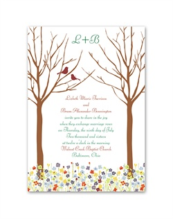 Let this wedding invitation's delightful scene introduce your spring wedding. Love springs up in a beautiful array of colorful flowers below two lovebirds perched in the forest trees. The birds and your wording are printed in your choice of colors and lettering styles. The matching enclosures feature the birds perched on colorful flowers, an adorable complement to your invitation ensemble.