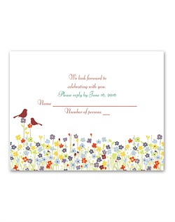 Let this response card's delightful scene become a part of your spring wedding invitation ensemble. Love springs up in a beautiful array of colorful flowers below two lovebirds perched in the forest trees. The birds and your wording are printed in your choice of colors and fonts.