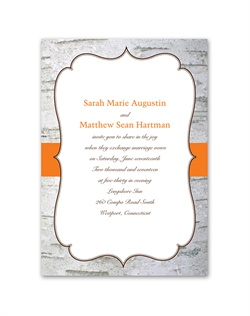 The natural beauty of birch wood becomes the background for your wedding details on this north woods-inspired wedding invitation featuring a crest frame and colorful band accent. The band accent and your wording print in your choice of colors and typestyles.