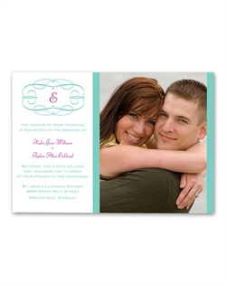 A swirl frame wraps around your last name initial, creating a simply classic look on this photo wedding invitation. Design and wording are printed in your choice of colors and fonts.